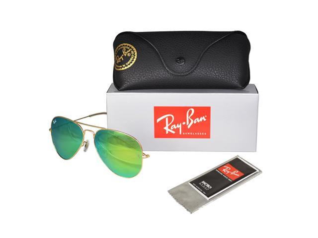 0843b75bbac8e Ray Ban RB3025 Aviator Flash Lenses Sunglasses - Gold Frame Green Lenses