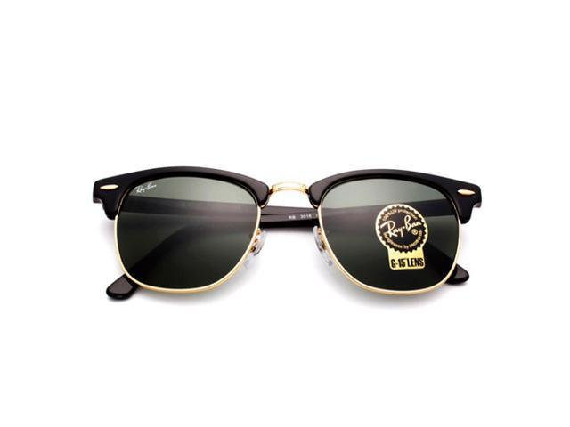 197fa119dcb235 Ray-Ban Classic Clubmaster RB3016 W0365 Black Arista Gold Frame G-15 Lens