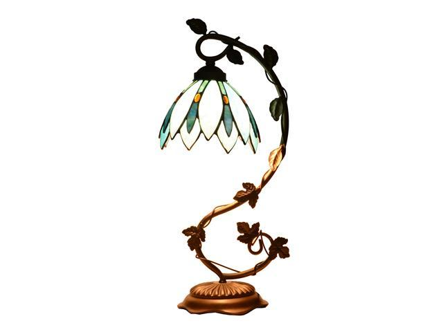 Tiffany Style Stained Glass Lotus Flower Table Lamp Accent Light