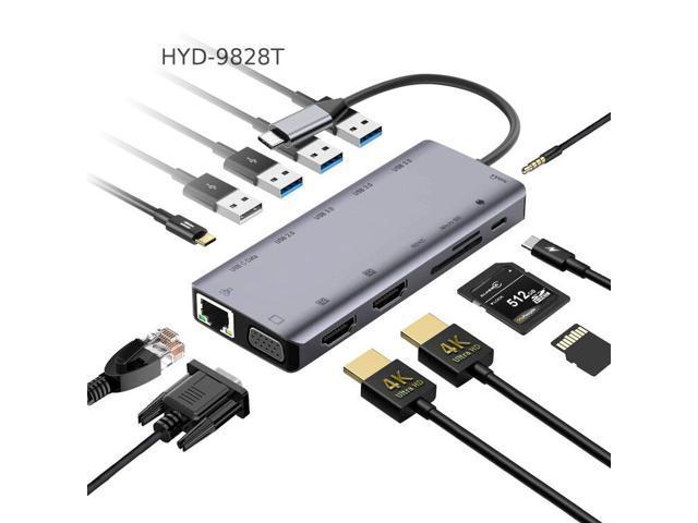 NOV8Tech USB C Hub Docking Station Type C Adapter 13 in 1 Triple - Sale: $49.99 USD (29% off)