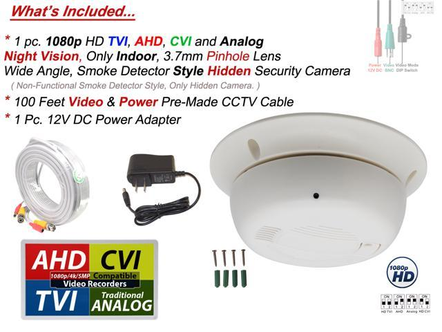 1080P CVI TVI AHD CCTV Smoke Detector Style Wired Hidden Spy HD Camera