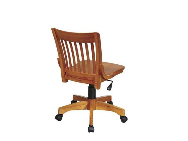 Office Star 101FW Deluxe Armless Wood Bankers Chair With Wood Seat In Fruit  Wood Finish