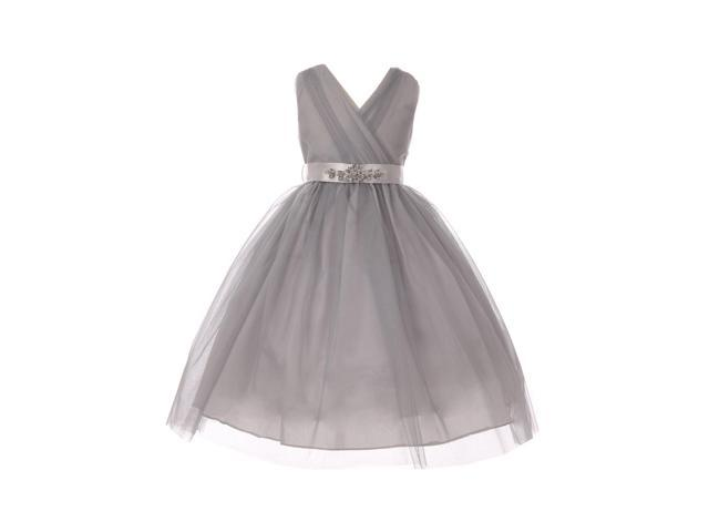 dce5d8bbae2 Big Girls Silver Rhinestone Satin Sash V-Neck Tulle Junior Bridesmaid Dress  12