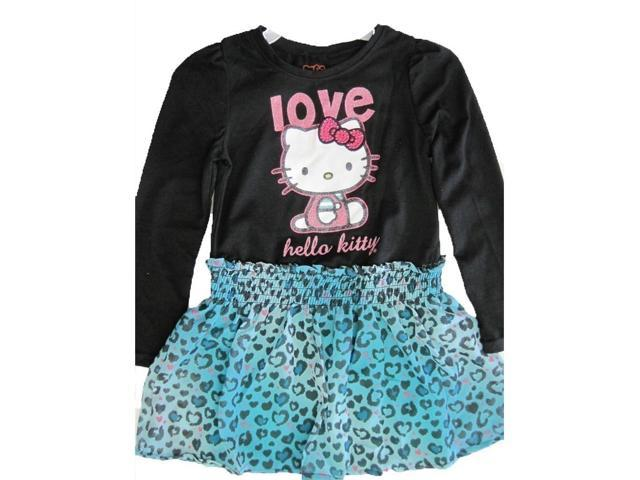 Hello kitty little girls black blue leopard spot applique dress