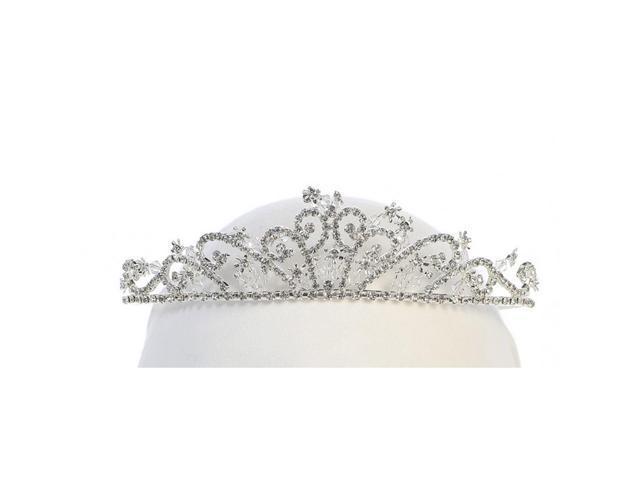 Angels Garment Girls Silver Tone Rhinestone Embellished Tiara Headpiece