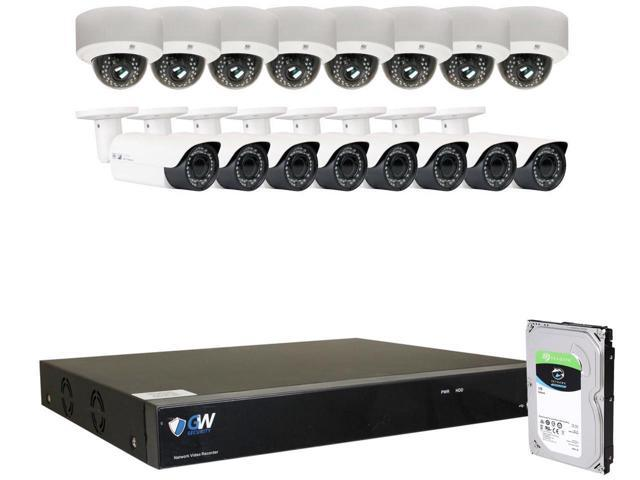Weatherproof Dome Cameras Pre-Installed 4TB Hard Drive Quick QR Code Easy Setup 16 5.0 Megapixel 2592 x 1920 GW Security 16 Channel 4K NVR 1920P IP Camera POE H.265 Video Security System