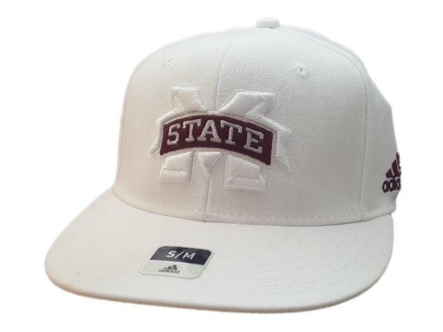 Mississippi State Bulldogs Adidas SuperFlex White Rounded Flat Bill Hat Cap (S M) 9446ccc096f