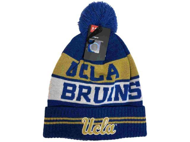 c2db898562c UCLA Bruins Under Armour Powder Keg Blue Sideline Pom Pom Beanie Hat Cap