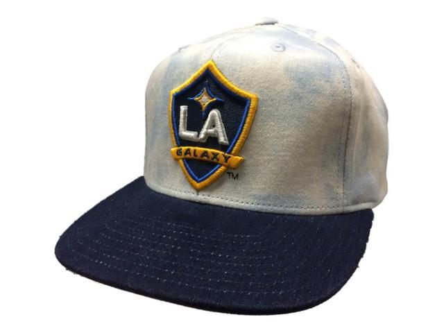 d8772e2f Los Angeles Galaxy Adidas Acid Wash Denim Structured Snapback Flat Bill Hat