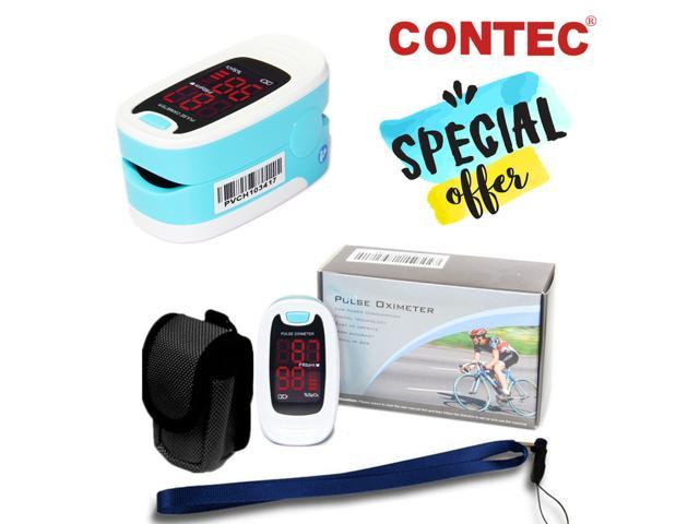 CONTEC Finger tip Pulse Oximeter Blood Oxygen Saturation meter SpO2 Heart Pulse Rate Monitor LED, Pouch&lanyard Free