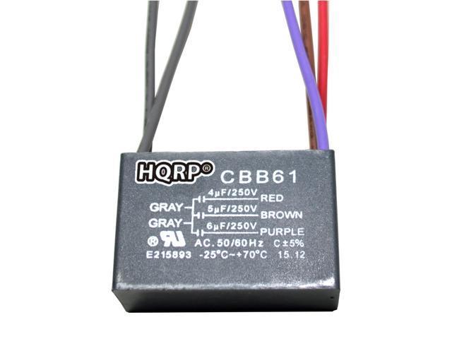 Hqrp Ceiling Fan Capacitor Cbb61 4uf 5uf 6uf 5