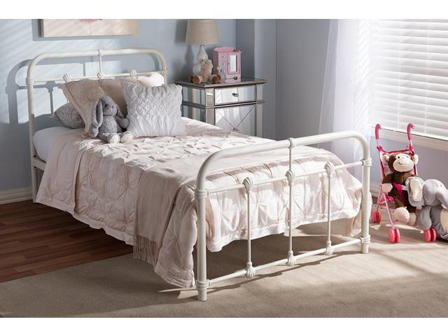 60bdf4dc5069 Baxton Studio Mandy Vintage Industrial White Finished Metal Twin Size  Platform Bed