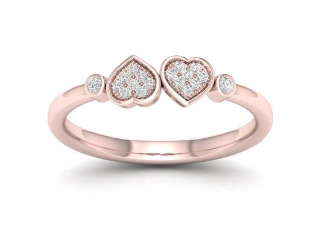 4014fc4bfd1 De Couer 1/20Ct TDW Diamond 10K Rose GoldHeart Twins Ring - Newegg.com