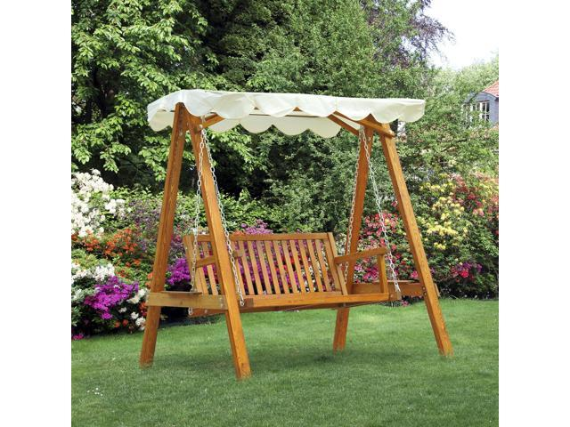 Outsunny Heavy Duty 2 Seater Wooden Swing Chair Outdoor Hammock With Canopy Patio Garden Furniture