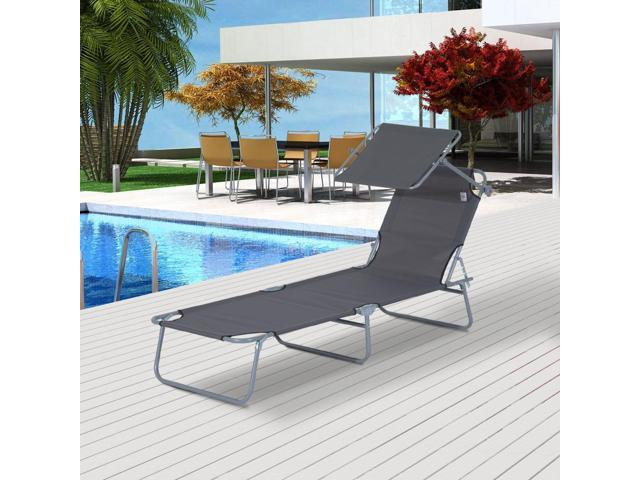 Outsunny Adjustable Garden Chaise Lounge Outdoor Camping Beach