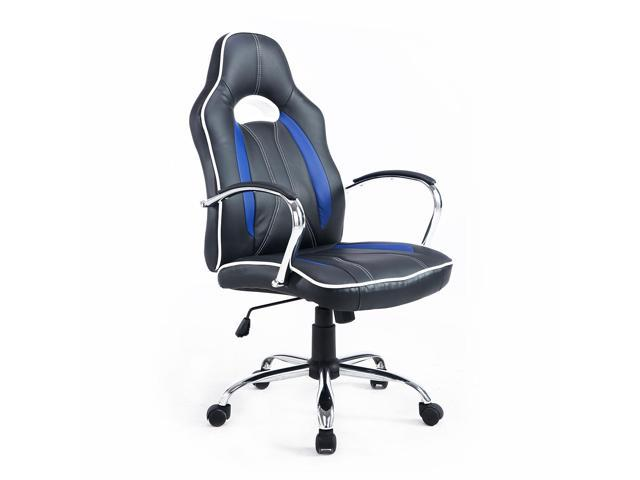 Homcom 921 017bu High Back Executive Racing Office Chair Faux Leather Swivel Computer Desk Seat