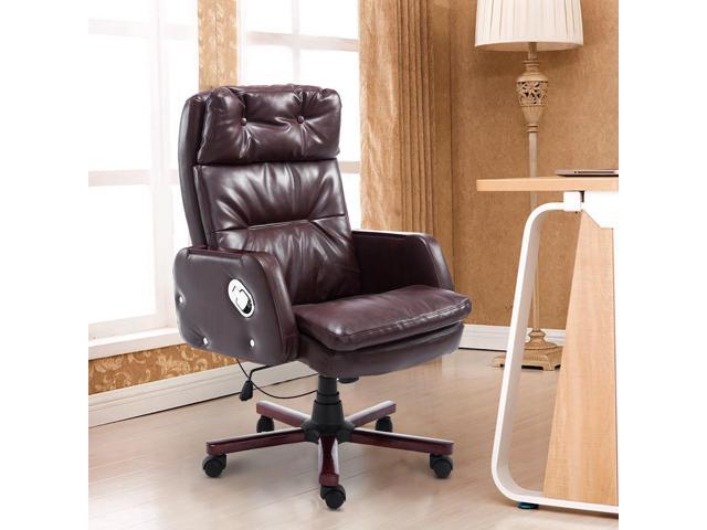 homcom faux leather reclining office chair seat with adjustable