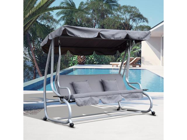 3 Seater Swing Chair Convertible Swing Hammock Cushioned Seat Patio w/ Canopy  sc 1 st  Newegg & 3 Seater Swing Chair Convertible Swing Hammock Cushioned Seat ...