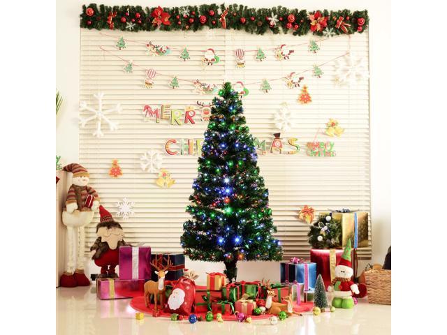 7e5f9edae86d HOMCOM 6FT Pre-lit LED Optical Fiber Christmas Tree Artificial Holiday  Décor with Stand Green