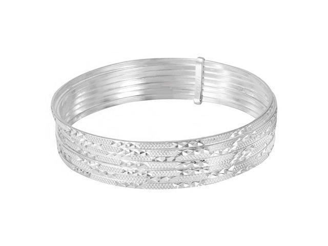 c33b1d7e0b04a .925 Sterling Silver High Polished Diamond Cut Semanario Bangle Bracelet,  Size 70mm - Newegg.com
