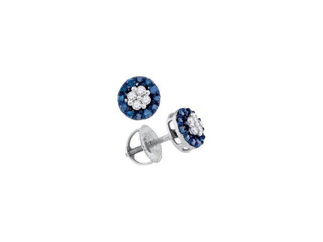 0 33 ctw diamond 10kt white gold womens round blue colored diamond cluster screwback earrings