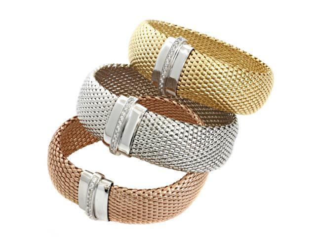 925 Sterling Silver Thick CZ Mesh Bracelet, YELLOW GOLD, Made In Italy -  Newegg com