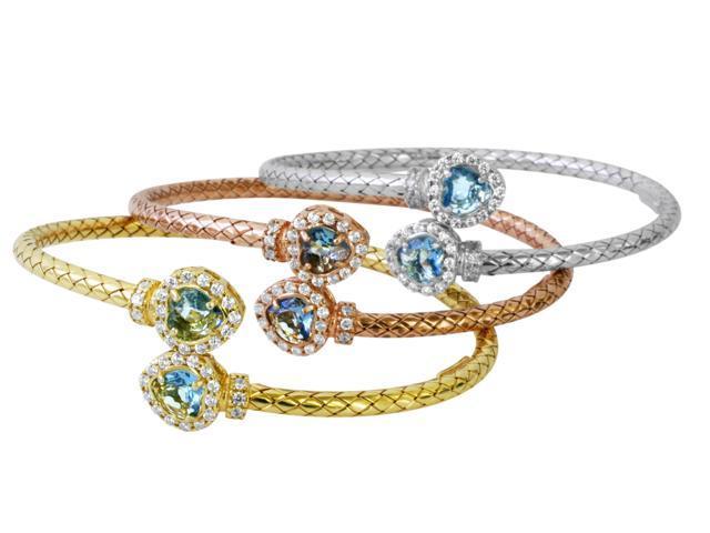925 Sterling Silver Pink CZ End Bracelet, ROSE GOLD, Made In Italy -  Newegg com