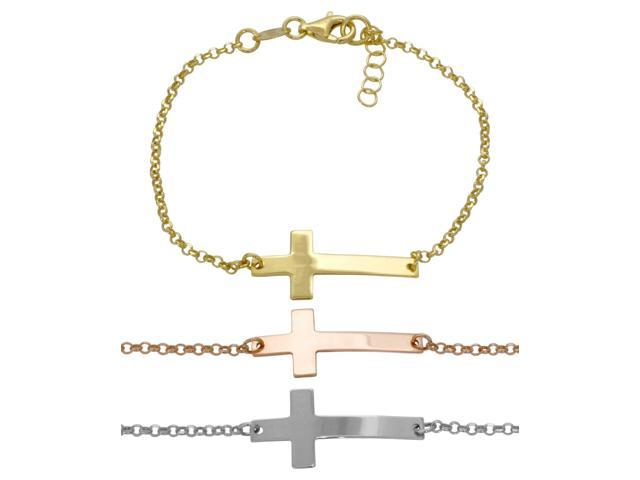 925 Sterling Silver Plain Side Cross Bracelet Rose Gold Made In Italy