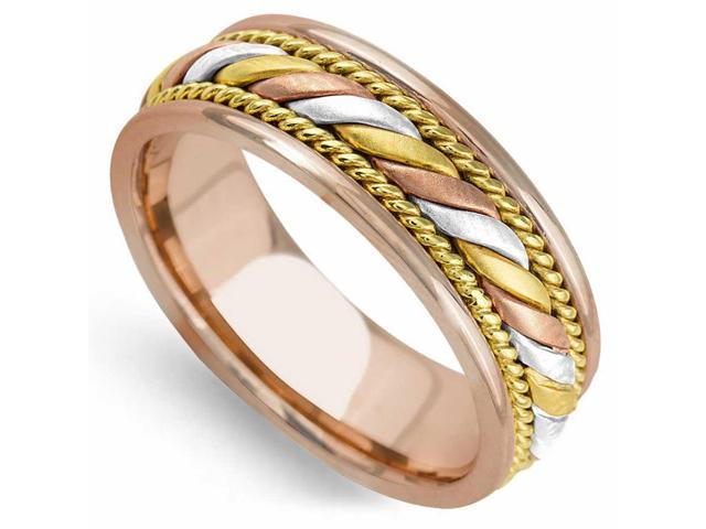 f243736e28ee9 14K Tri Color Solid Gold Coil Braid Comfort Fit Men's and Women's Wedding  Band Ring - 7mm - Newegg.com