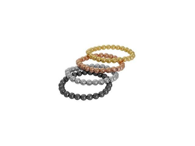 925 Sterling Silver Stripped Bead Stretch Bracelet, ROSE GOLD, Made In  Italy - Newegg com