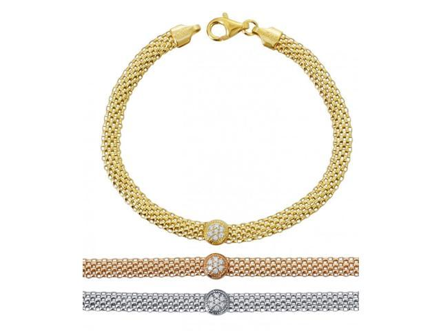 925 Sterling Silver Mesh CZ Circle Bracelet, YELLOW GOLD, Made In Italy -  Newegg com