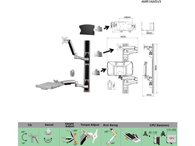 Amer Mounts AMR1AWSV3: Full Solution Sit-Stand Computer Workstation Wall Mount for LCD/LED Flat Panel Monitor Displays, and Keyboard/Mouse with Extension Arm