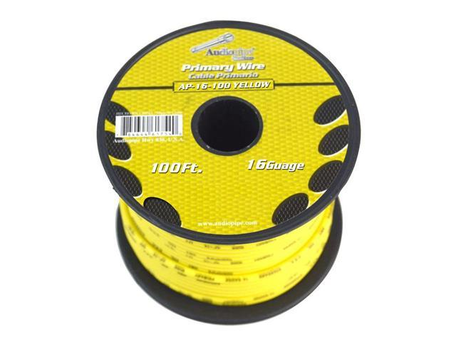 Audiopipe 100 Feet 16 GA Gauge AWG Yellow Primary Remote Wire Car Power on