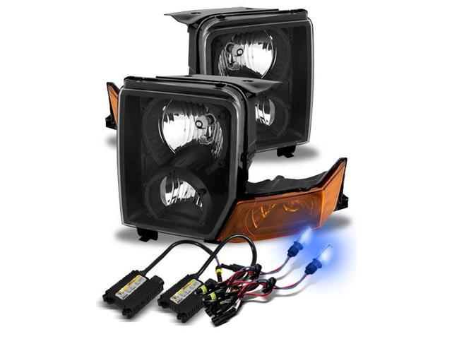 10000k xenon hid/for 06-10 jeep commander black/amber crystal headlights  lamps