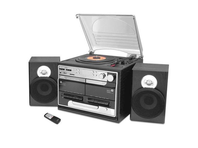 PyleHome - Retro Vintage Bluetooth Wireless Streaming Turntable & Speaker System with Vinyl to USB Recording, Dual Cassette Decks, CD Player, AM/FM Radio, AUX In, Line Out, USB & SD Card Readers