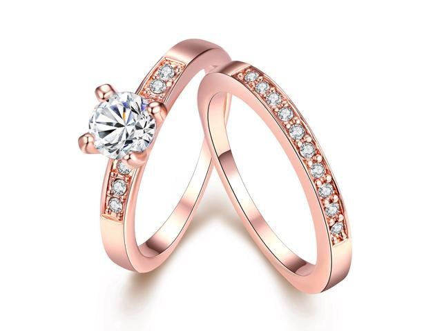 7026fe7db469 Eternity Love Women s 18K Rose Gold Plated Princess Cut Crystal Engagement  Rings Best Promise Rings Anniversary