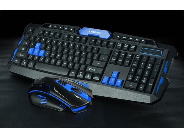 CORN  HK8100S 19 Non-conflicting Keys Mechanical Feeling  Ergonomic Design, Cool Exterior Waterproof 2.4GHz Wireless Keyboard And Mouse Combo For Office And Game - Black/Blue