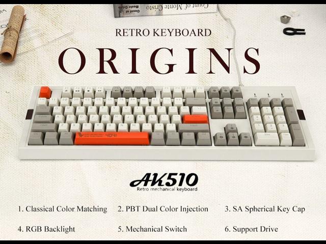Ajazz AK510 Retro Cherry MX Red Mechanical Keyboard 104 Key PBT Ball Key  Cap Grey/White(No Backlight) - Newegg com