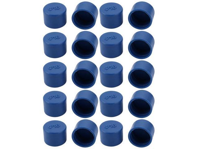 uxcell 5pcs 22mm Inner Dia PE Plastic End Cap Bolt Thread Protector Tube Cover Blue