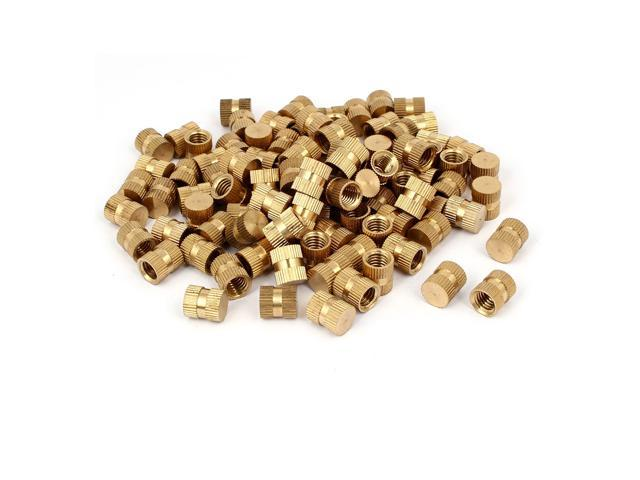 M8 x 12mm 10mm OD Brass Threaded Insert Embedded Knurled Thumb Nut 100PCS -  Newegg com