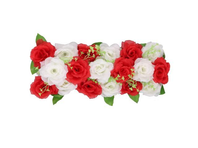Unique Bargains Wedding Fabric Diy Wall Arch Hanging Artificial Flower Garland Decor Red White
