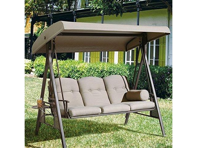 Abba Patio 3 Seat Outdoor Polyester Canopy Porch Swing Hammock With