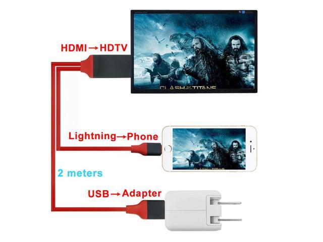 c7c7c07c0d1 2M 8 pin Lightning to HDMI Cable Adapter HDTV AV for iPhone 6 6S 7 ...