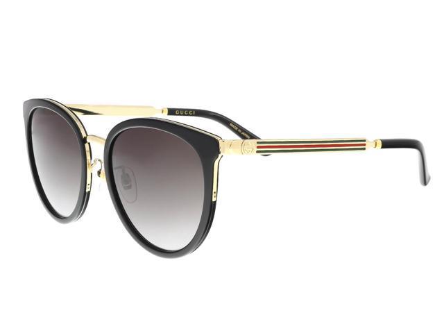 a2e3fda043b Gucci GG0077SK 001 Black Gold Cat Eye Sunglasses - Newegg.com