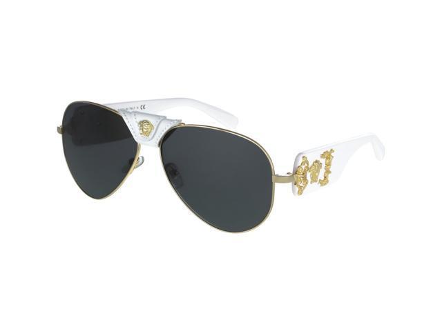f40683432aab Versace 2150Q Medusa Sunglasses 1341 87 62 White Gold Leather Frame Grey  Lenses