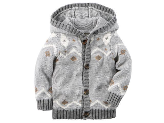 69ed21e4c Carters Baby Clothing Outfit Boys Hooded Fair Isle Cardigan Grey 6M ...