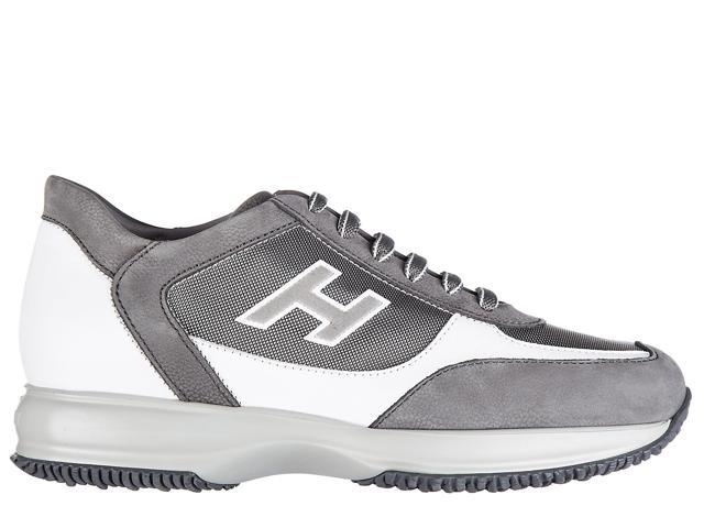 dfeffb5683ba hogan men s shoes leather trainers sneakers interactive h flock grey