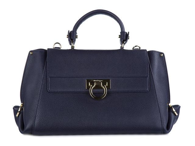 7143463a86 SALVATORE FERRAGAMO WOMEN S LEATHER HANDBAG SHOPPING BAG PURSE SOFIA BLUE