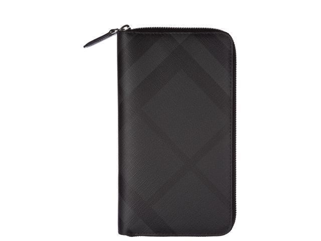 ce9d7277ab8 BURBERRY MEN S WALLET COIN CASE HOLDER PURSE CARD BIFOLD LONDON CHECK ZIP  AROUND BLACK