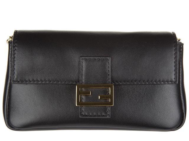 1f7099519489 fendi women s leather shoulder bag micro baguette black